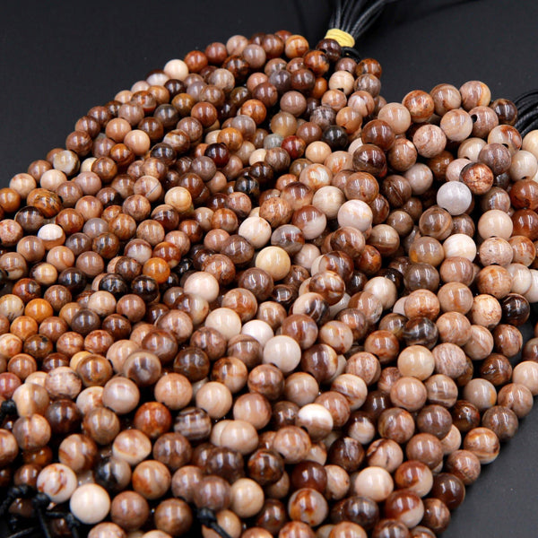 "Large Hole Beads Natural Petrified Wood Fossil 8mm Round Beads 10mm Round Beads Big 2.5mm Hole 8"" Strand"