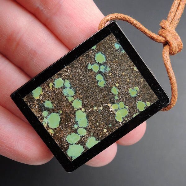 Intarsia Pendant Natural Dragon Skin Turquoise W Black Onyx Inlay Side Drilled Rectangle Pendant Picture Frame Stunning Blue Turquoise P1868