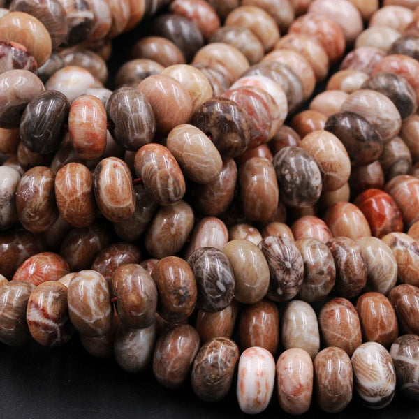 "AAA Large Chunky Natural Fossil Coral Smooth Rondelle Beads 10mm x 6mm Large Rondelle Brown Beige Tan Rusty Red Coral Beads 16"" Strand"