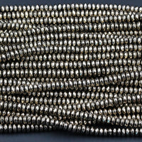 "Large Hole Beads Titanium Pyrite Faceted 8mm Rondelle beads Thin Faceted Rondelle Diamond Micro Cut Sparkling Gemstone 16"" Strand"