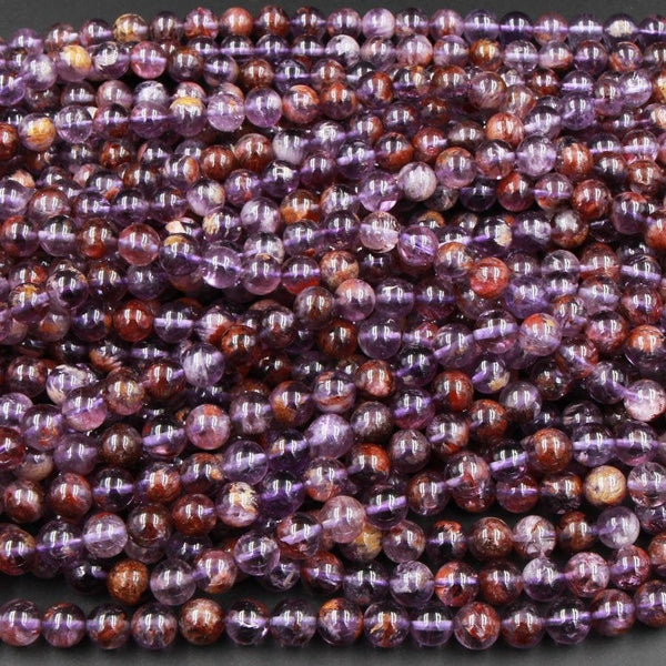 "Super 7 Crystal Element Amethyst Natural Phantom Amethyst Round Beads 6mm 7mm 8mm 9mm Round Beads Powerful Healing Stone Rock 16"" Strand"