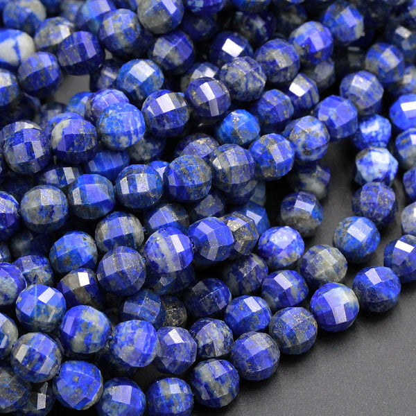 "Geometric Lantern Faceted Natural Blue Lapis Lazuli 10mm Round Sparkling Golden Pyrite Gemstone Good For Earring Pair Bead 16"" Strand"