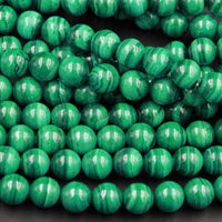 "Real Genuine Natural Green Malachite Round Beads 6mm Round 8mm AAA Grade Natural Malachite Gemstone From Congo 16"" Strand"