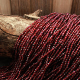"Natural Garnet Faceted 2.5mm Round Beads Micro Faceted Tiny Small Round Beads Diamond Cut Gemstone 16"" Strand"