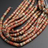 "Red Creek Jasper Beads 4mm 6mm 8mm 10mm Heishi Rondelle Disc High Quality Earthy Red Green Yellow Brown Multicolor Picasso Jasper 16"" Strand"