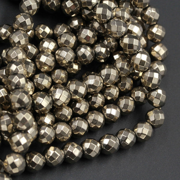 "Large Hole Pyrite Beads Titanium Pyrite Faceted 6mm 8mm Round Beads 2mm Large Drilled Hole 16"" Strand"