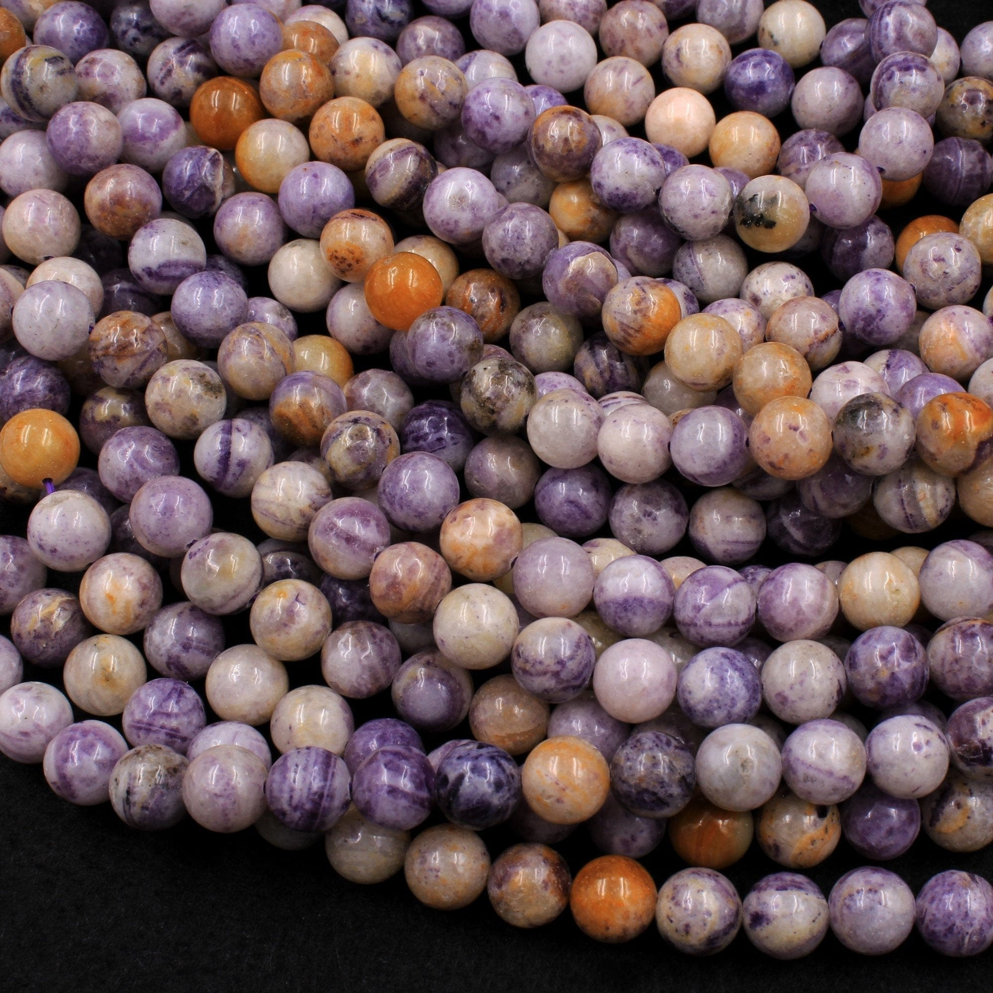 "Natural Petrified Fluorite Beads 8mm 10mm Round Beads Natural Purple Yellow Orange Gemstone Beads 16"" Strand"