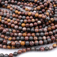 "Natural Sonora Dendritic Rhyolite 4mm Round Beads 6mm Round Beads 8mm Round Beads High Polish 16"" Strand"