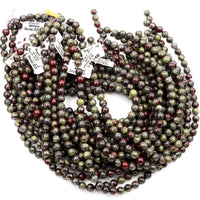 "Natural Dragon Blood Jasper 4mm Round Beads 6mm Round Beads 8mm Round Beads 10mm Round Beads Polished Red Green 16"" Strand"