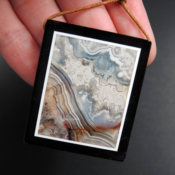 Intarsia Pendant Natural Laguna Lace Agate Pendant W Black Onyx Frame Side Drilled Rectangle Picture Frame Amazing Sky Mountain P1814