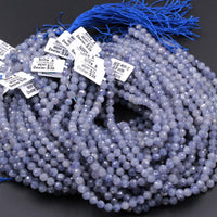 "Gorgeous Natural Blue Lolite 6mm 8mm Round Beads Micro Faceted Gemstone Large Genuine Real Iolite Faceted Round Gemstone Beads 16"" Strand"