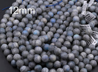 "A Grade Matte Natural Labradorite 4mm 6mm 8mm 10mm 12mm Matte Round Beads Blue Flashes 16"" Strand"