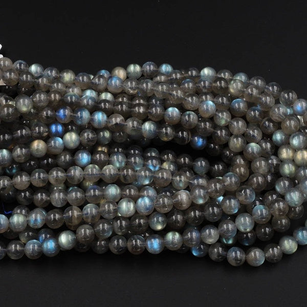 "Flashy~ A+ Grade Natural Labradorite 7.5mm Round Beads Smooth Polished Plain Round Beads 16"" Strand"