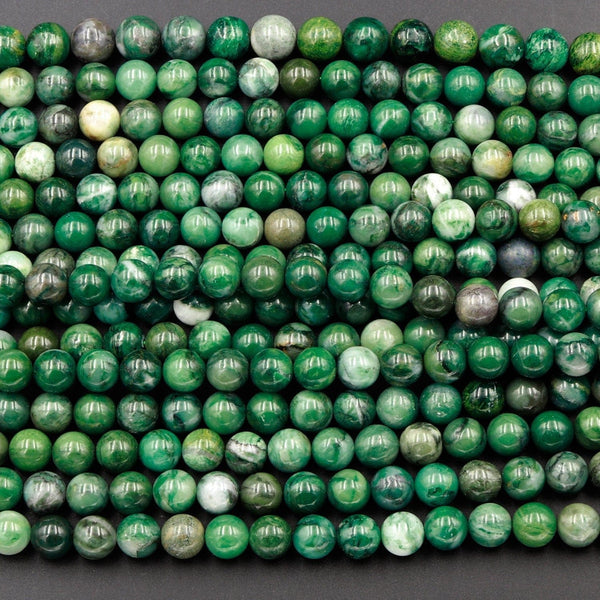 "Natural African Green Jade Beads 4mm 6mm 8mm 10mm Round Smooth Plain Round Green Jade Gemstone Beads 16"" Strand"