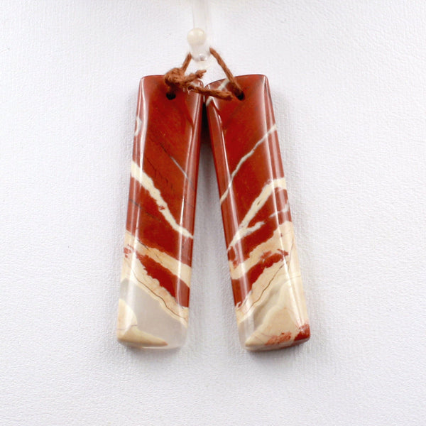 Natural Red River Jasper Rectangle Earring Pair Cabochon Cab Pair Drilled Matched Earrings Bead Pair