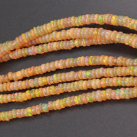 "16 Inches Ethiopian Opal Beads Rondelle Graduating 3mm 4mm AAA Super Flashy Fiery Rainbow Yellow Opal Smooth Rondelle Beads 16"" Strand A7"