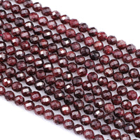 "Natural Red Garnet Gemstone Beads Faceted 6mm 8mm Round Beads High Quality Laser Diamond Cut Gemstone 16"" Strand"
