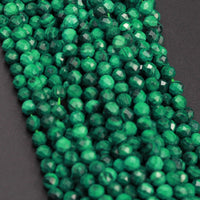 "Micro Faceted Small Real Genuine Natural Green Malachite Round Beads 4mm Faceted Round Beads Laser Diamond Cut Gemstone 16"" Strand"