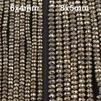 "Titanium Pyrite Faceted 6mm x 4mm and 8mm x 5mm Rondelle beads Thick Faceted Diamond Micro Cut Sparkling Natural Gemstone 16"" Strand"