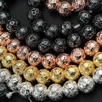 "Titanium Lava Round Bead 4mm 6mm 8mm 10mm Metallic Natural Volcanic Rock Stone Gunmetal Black Silver Rose Gold Electroplated 16"" Strand"