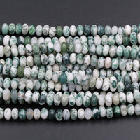 "A Grade Natural Green Tree Agate 8mm x 5mm Rondelle Plain Smooth Polished Beads Organic 100% Natural Gemstone 16"" Strand"