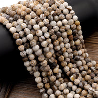 "Matte Natural Petrified Wooden Opal Beads Round Beads Earthy Beige Brown Yellow Gray Natural Stone 16"" Strand"