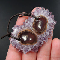 Large 2 Hole Pendant Amethyst Stalactite Flower Pendant Drilled Stalactite Cabochon Natural Gemstone Pendant Bead Good For Leather P1772