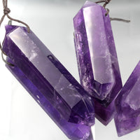 Drilled Natural Amethyst Pendant Double Terminated Point Rich Dark Purple High Quality Natural Crystal Pendant Bead Side Drilled Pendant