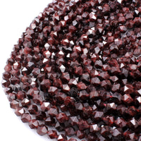 "AA Natural Red Garnet Gemstone Beads Faceted 6mm 8mm 10mm Round Star Cut High Quality Laser Diamond Cut Gemstone 16"" Strand"