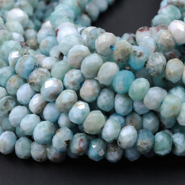 "Natural Blue Larimar Faceted Rondelle Beads 6mm 7mm 8mm Micro Faceted Real Genuine Larimar Blue Gemstone Large Larimar Beads 16"" Strand"