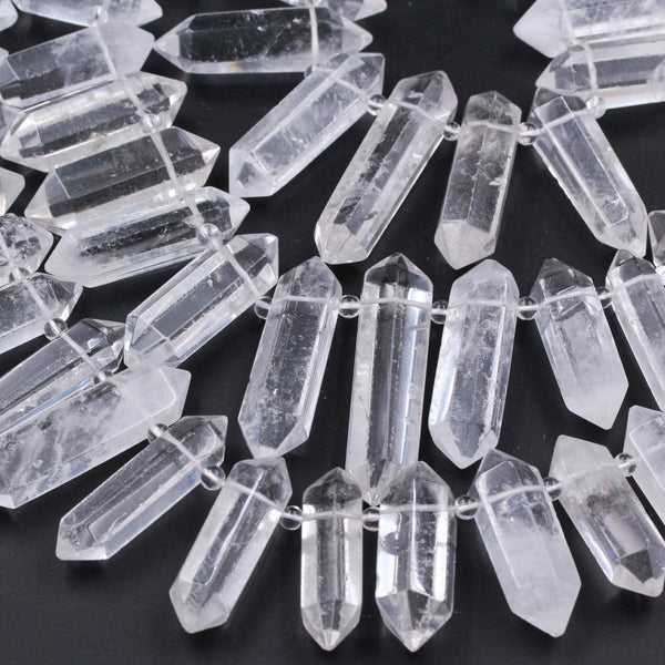 "Rock Crystal Quartz Beads Faceted Double Terminated Pointed Large Top Side Drilled Healing Natural Quartz Focal Pendant Bead 16"" Strand"