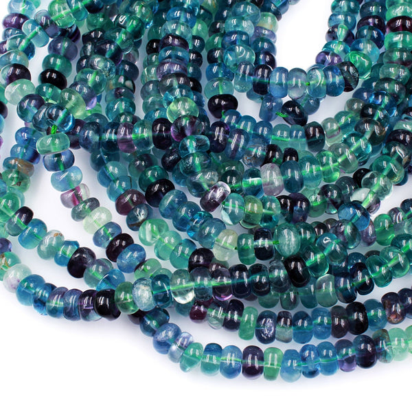 "AAA Super Clear Natural Fluorite Rondelle Beads 6mm 8mm Intense Purple Green Blue Gemstone Beads 16"" Strand"
