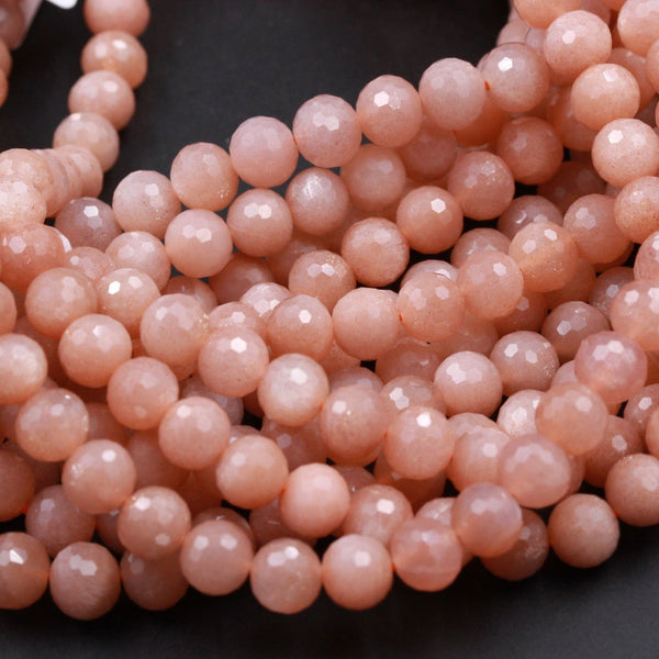 "AA Faceted Multicolor Natural Salmon Peach Moonstone 8mm Faceted Round Beads High Quality Micro Faceted Sparkling Gemstone 16"" Strand"