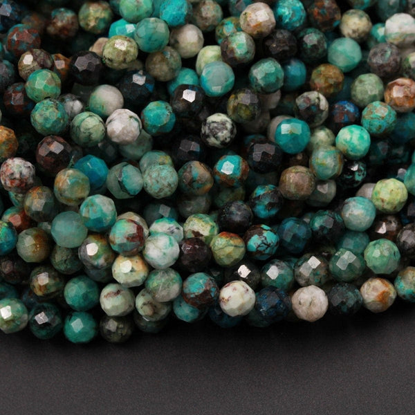 "Natural Green Chrysocolla Beads 5mm Faceted Round Beads Micro Faceted Small Beads Laser Diamond Cut Gemstone 16"" Strand"
