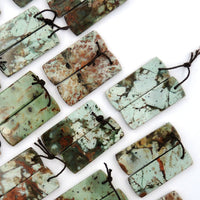 Natural African Green Opal Earring Pair Flat Rectangle Cabochon Cab Pair Drilled Matched Gemstone Bead Pair