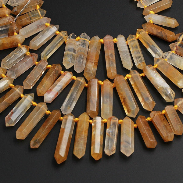 "Golden Quartz Faceted Double Terminated Pointed Beads Top Side Drilled Large Healing Natural Golden Crystal Focal Pendant Bead 16"" Strand"