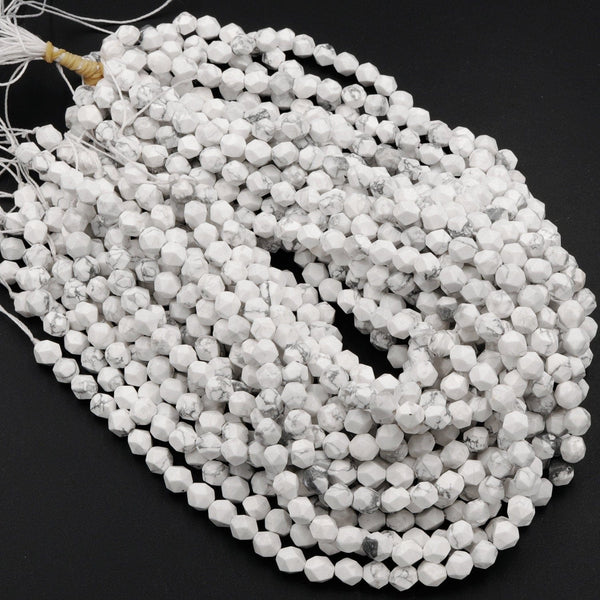 "Star Cut Natural White Howlite Beads Faceted 6mm 8mm 10mm Rounded Nugget Sharp Facets 15"" Strand"