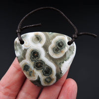 Natural Ocean Jasper Pendant Orange Pink Green White Two Hole Drilled Freeform Pendant P1169