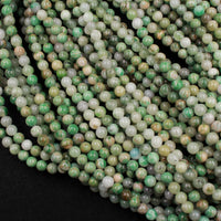 "Natural African Green Jade Beads 6mm Round Smooth Plain Round Green Jade Gemstone Beads 16"" Strand"
