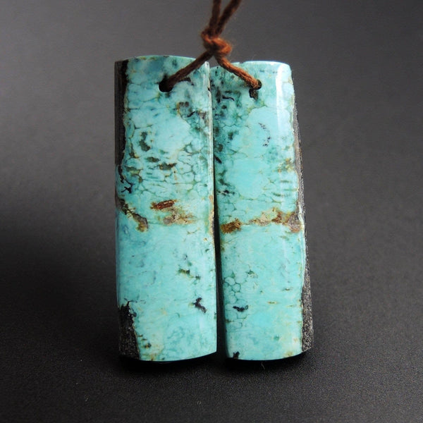Natural Turquoise Earring Pair From Anhui Mine Cabochon Cab Pair Drilled Matched Earrings Bead Pair E2225