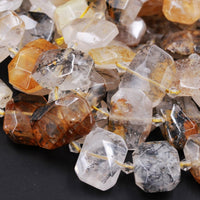 "Drilled Dendritic Quartz Beads Natural Golden Rock Crystal Chunky Faceted Slab Cushion Rectangle Nugget Slice Focal Pendant Beads 16"" Strand"