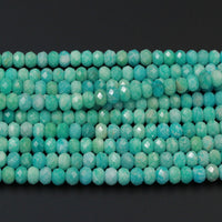 "AAA Peruvian Amazonite Faceted Rondelle 6mm 8mm 9mm 10mm 12mm Beads Natural Sea Blue Green Gemstone Laser Diamond Cut 16"" Strand"