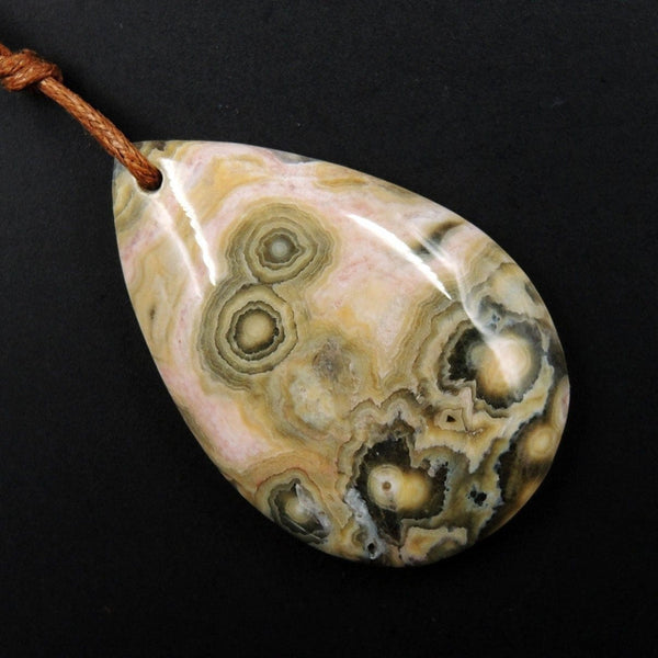 Ocean Jasper Pendant Orange White Grey Green Front Drilled Irregular Freeform Natural Stone Pendant P1735