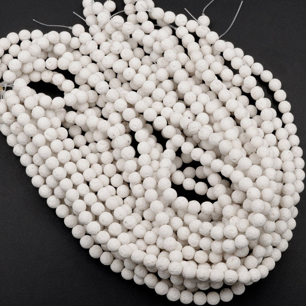"Nice Smooth White Lava Gemstone Round Loose Beads Size 6mm 8mm 10mm Organic Earthy Stone 16"" Strand"