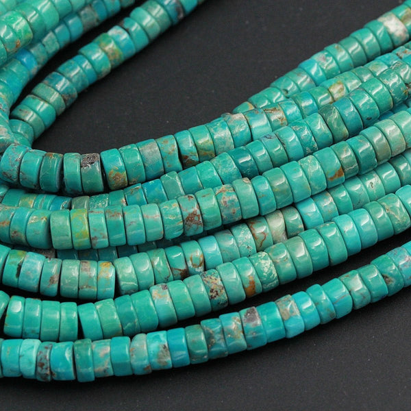 "Genuine 100% Natural Turquoise Heishi Beads 6mm 7mm Rondelle Genuine Bright Blue Green Turquoise Beads Center Drilled Full 16"" Strand"