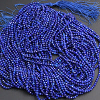 "Micro Faceted Natural Blue Lapis Lazuli Round Beads Tiny Small 3mm Faceted Round Beads Diamond Cut Gemstone 16"" Strand"
