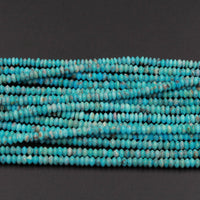 "Natural Turquoise 4mm x 2mm Faceted Rondelle Beads Thin Fine Rondelle High Quality Real Genuine Blue Turquoise Gemstone Discs  16"" Strand"