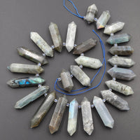 "Natural Labradorite Beads Faceted Double Terminated Point Bullet Bicone Large Long Top Side Drilled Focal Labradorite Pendant 16"" Strand"