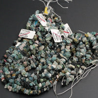"Rough Raw Multicolor Green Blue Tourmline Beads 8mm Freeform Center Drilled Chip Nuggets Organic Cut  Real Genuine Tourmaline 16"" Strand"