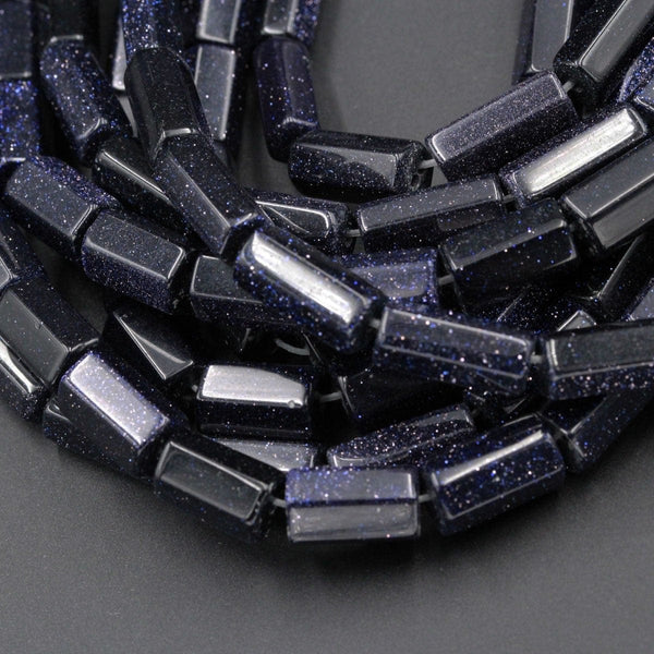 "Sparkling Blue Goldstone 14x6mm 14x10mm Faceted Tube Beads Long Polished Tube Beads 16"" Strand"